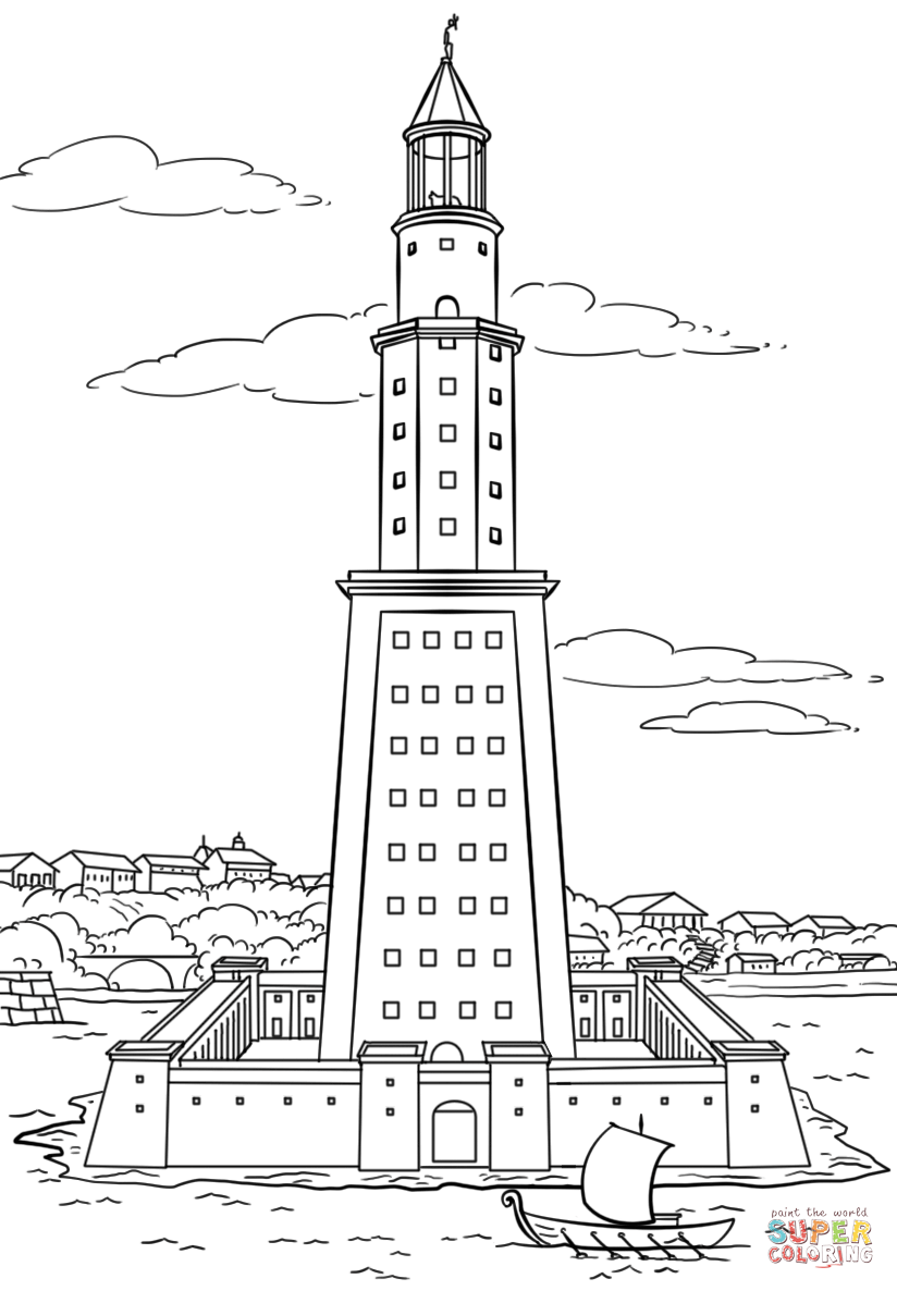 Pharos Lighthouse Of Alexandria Coloring Page