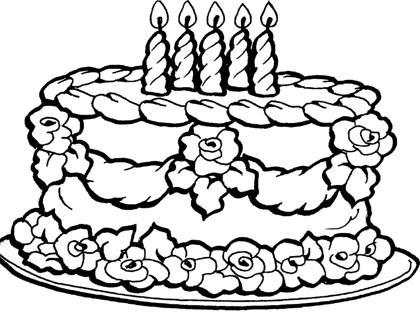 Pictures Birthday Cake Coloring Pages 90 For Your Line Drawings