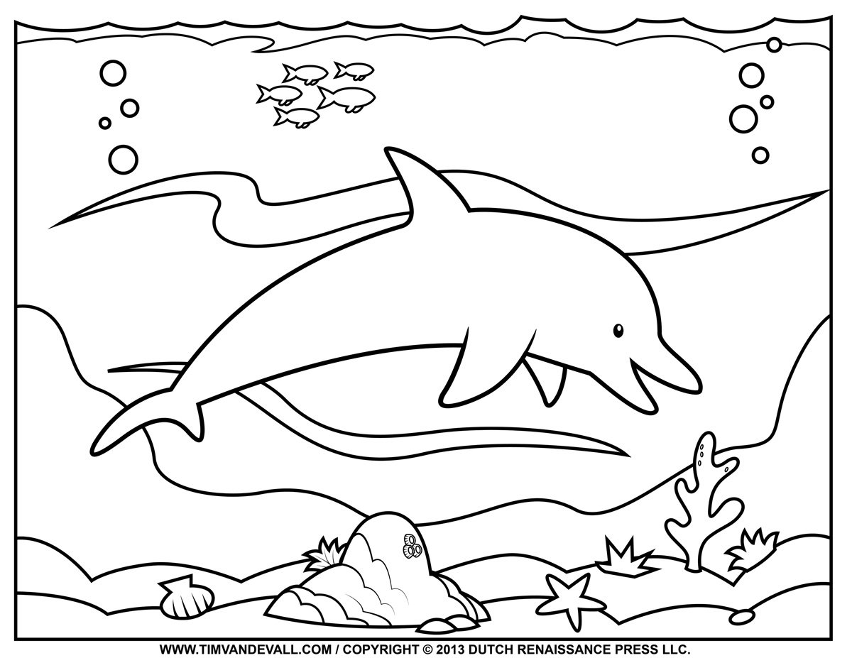 Pictures Dolphin Coloring Pages 40 For Line Drawings With Dolphin