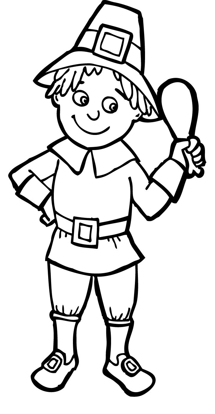 Pilgrim Coloring Pages Boys And Girls With Boy Girl