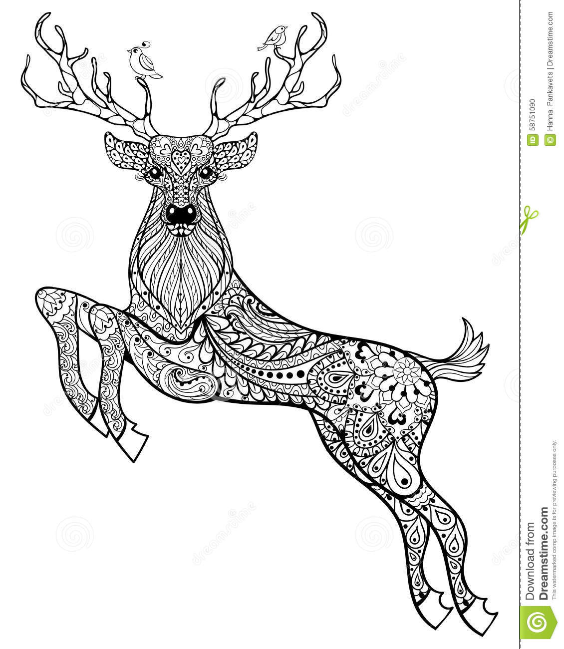 Plush Design Reindeer Animal Coloring Pages Mandala Deer Coloring