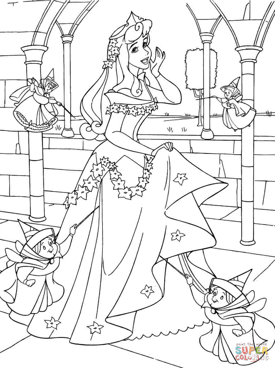 Princess Aurora With Good Fairies Coloring Page