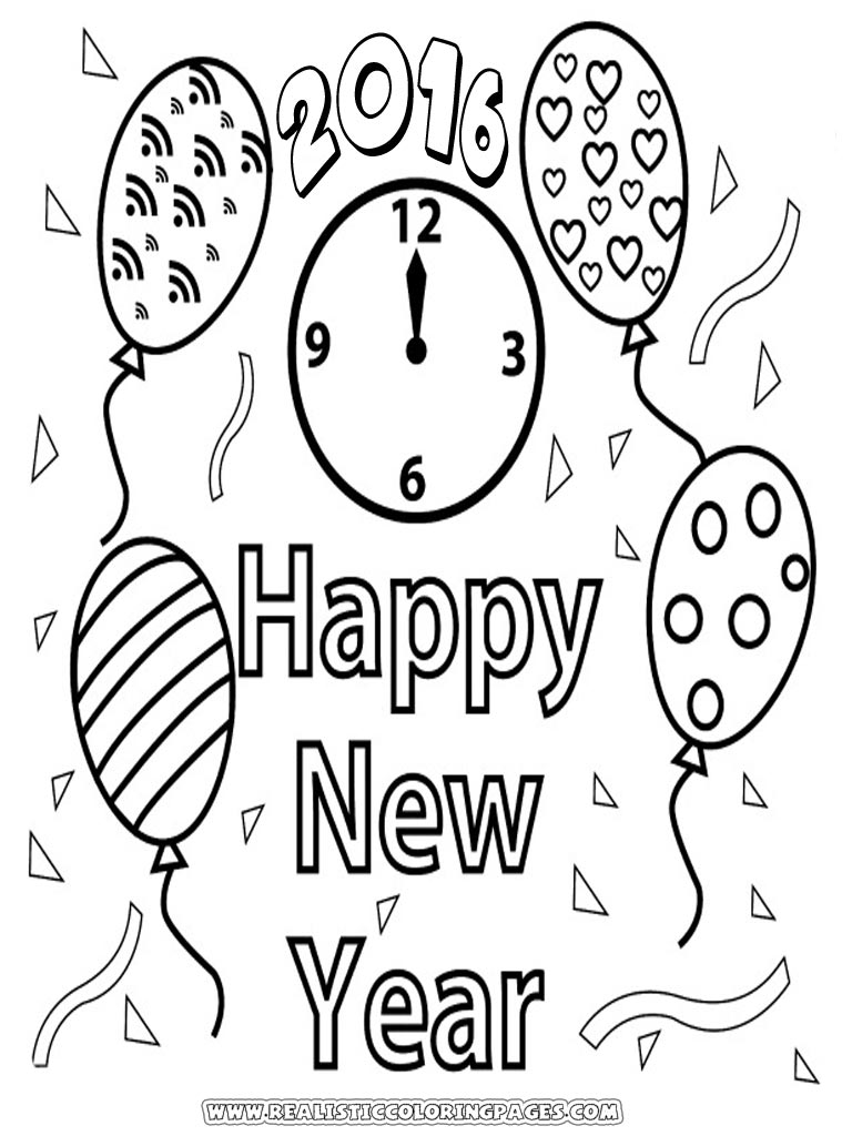 Print Out Happy New Year Coloring Page For Kids Archives Within