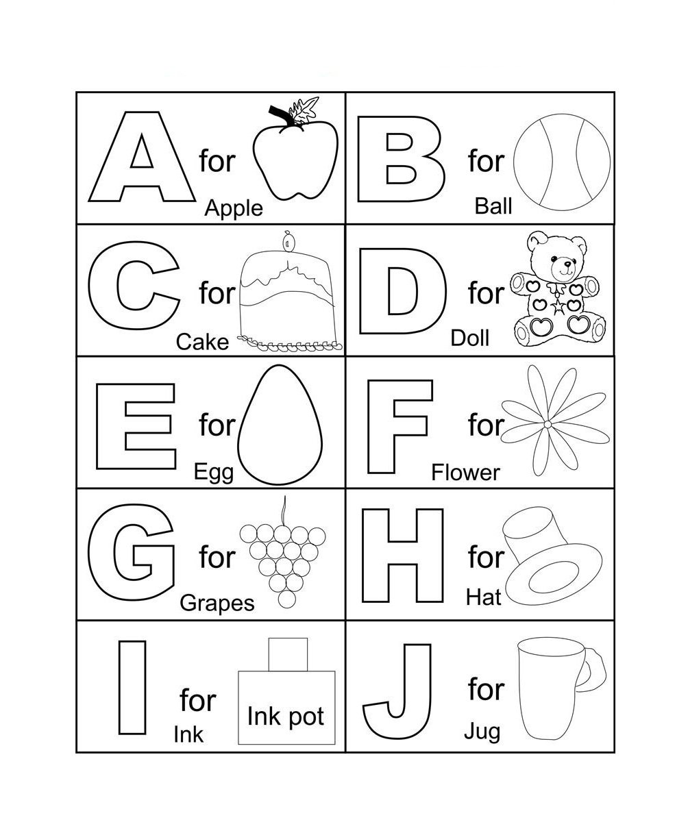 Printable Abc Coloring Pages For Kindergarten