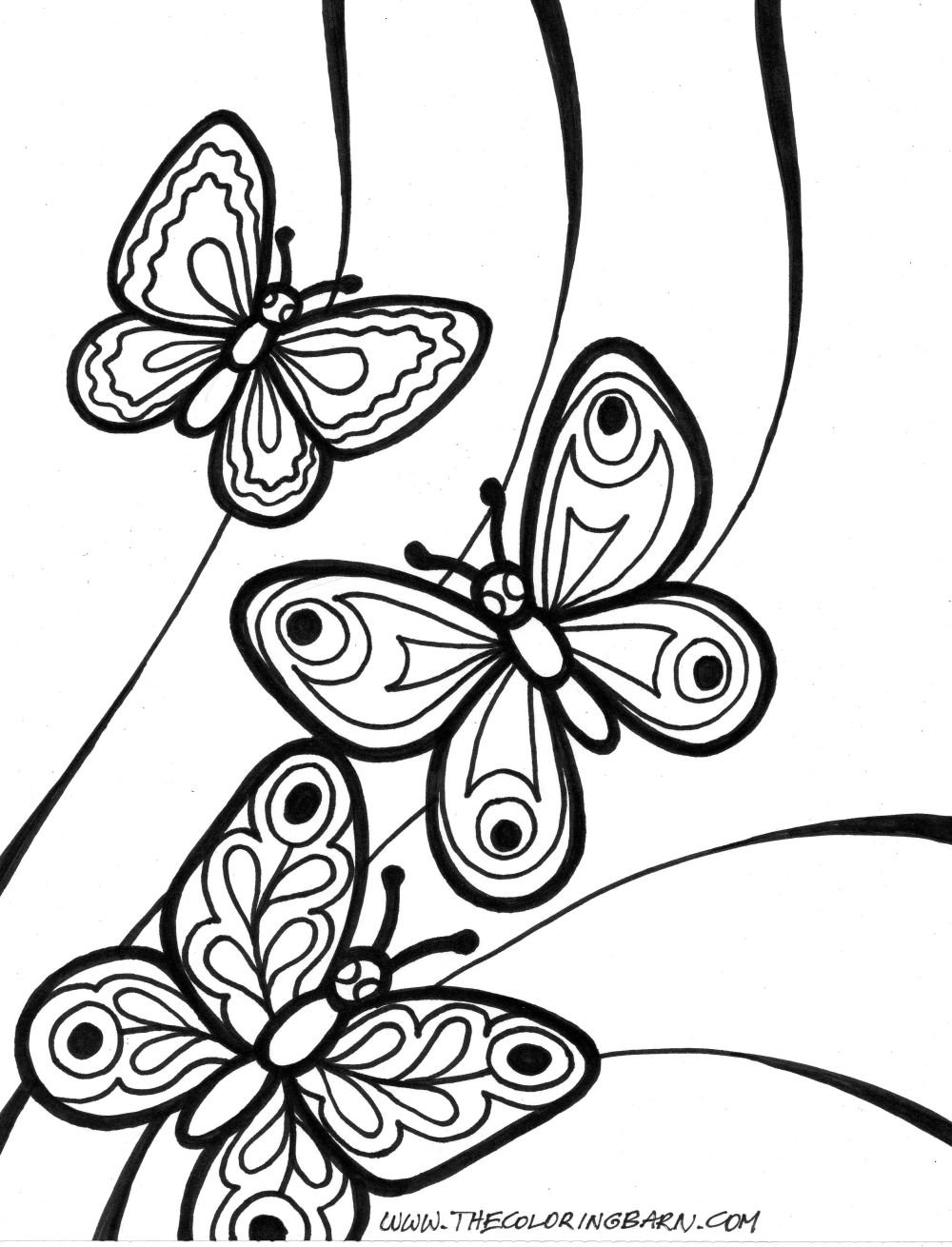 Printable Butterfly Coloring Pages For Kids Archives Throughout