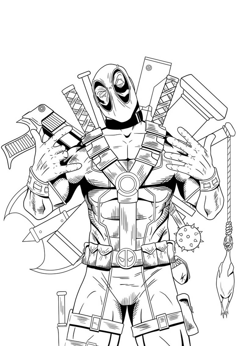 Printable Deadpool Coloring Pages 11547,