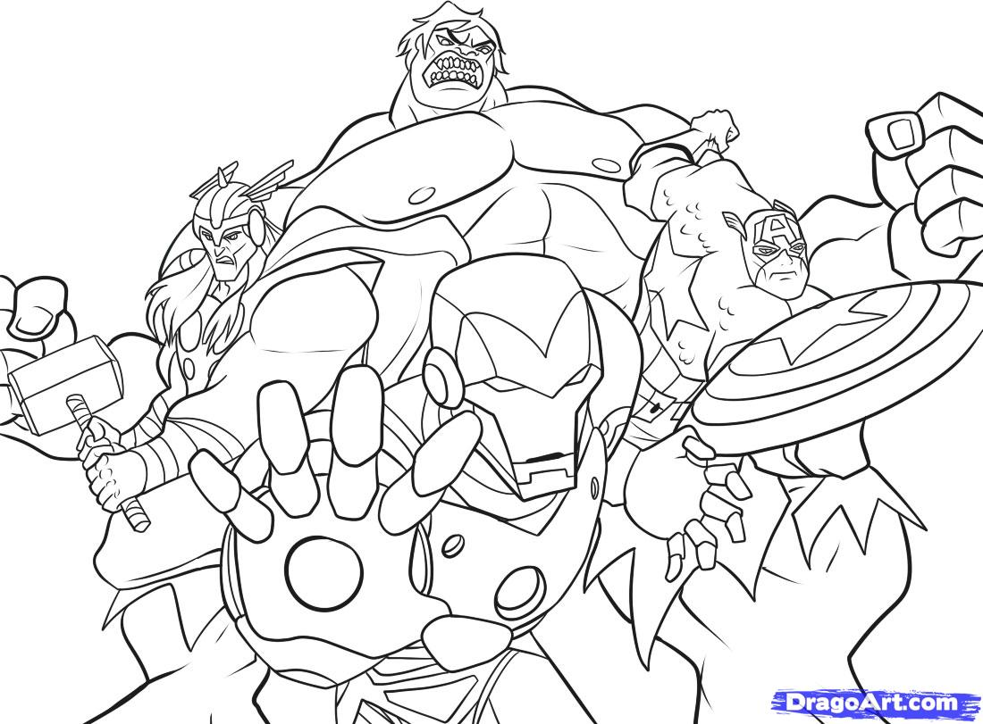Printable Marvel 's The Avengers Cartoon Coloring Pages For Kids