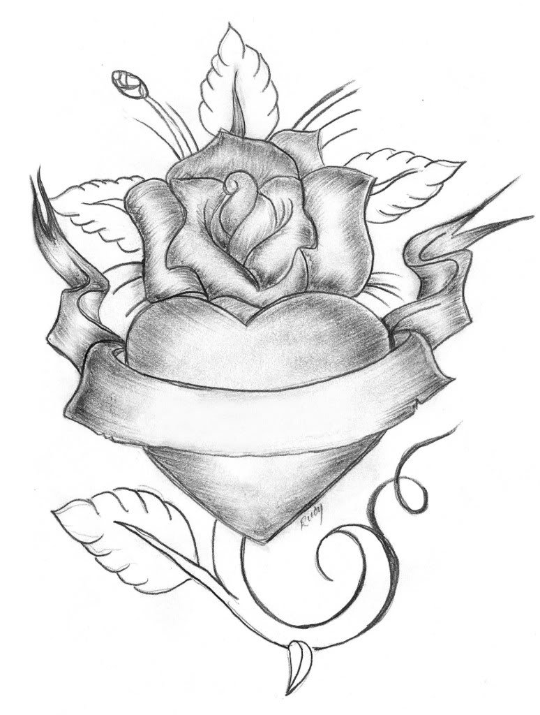 Pencil Sketches Of Hearts And Roses