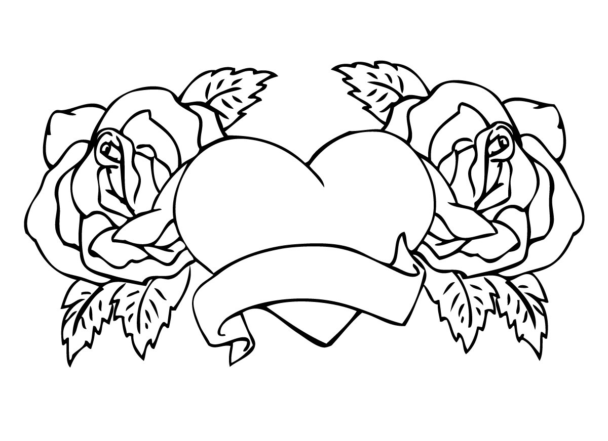Roses Coloring Pages With Heart Center For Kids