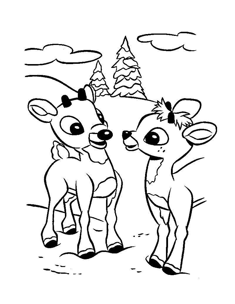 Christmas Reindeer Fawns Coloring Pages