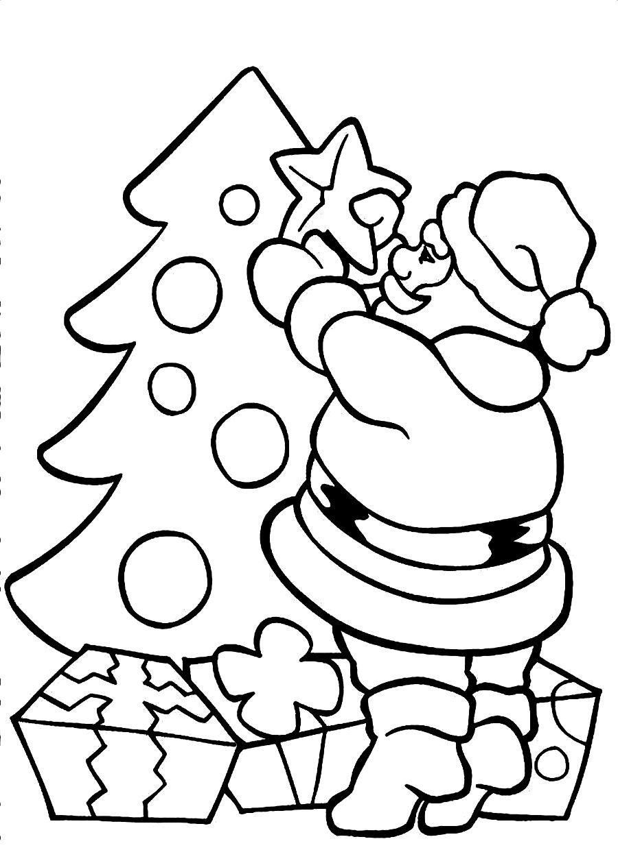 Santa Claus Coloring Pages Decorating Christmas Tree