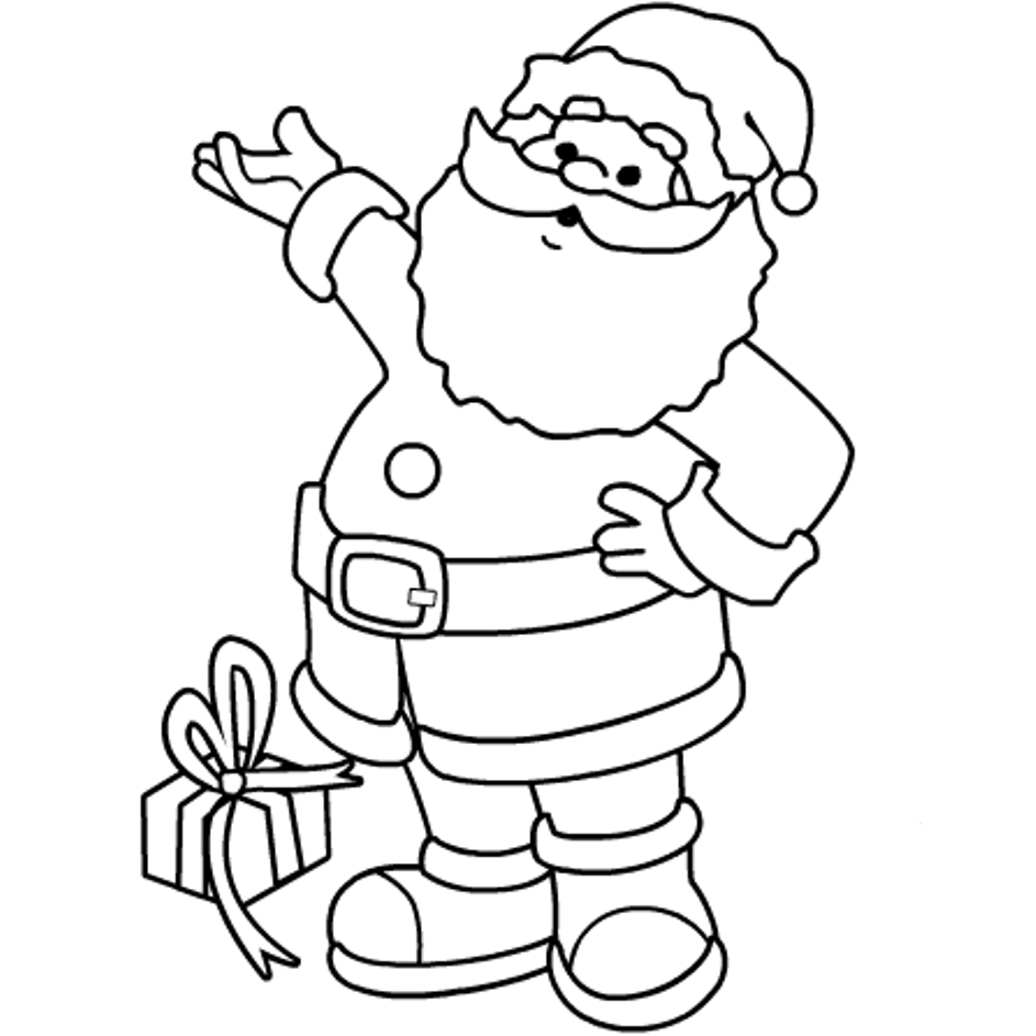 Santa Claus Coloring Pages With A Gift