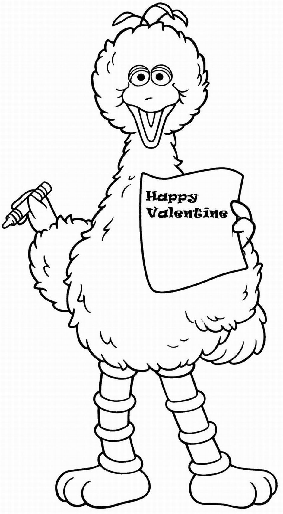 Sesame Street Coloring Pages Big Bird Valentine