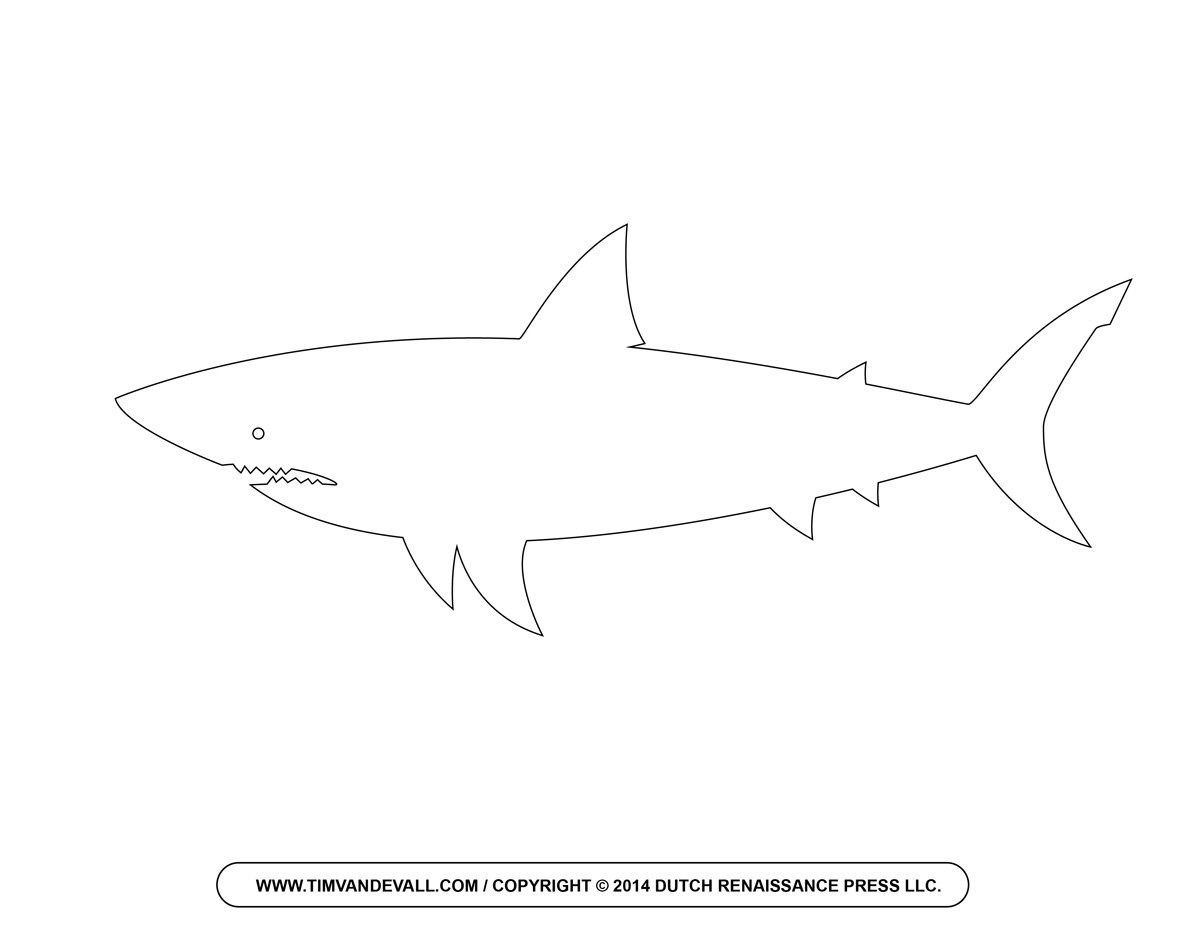 Free Cartoon Shark Clipart, Shark Outline And Shark Silhouette