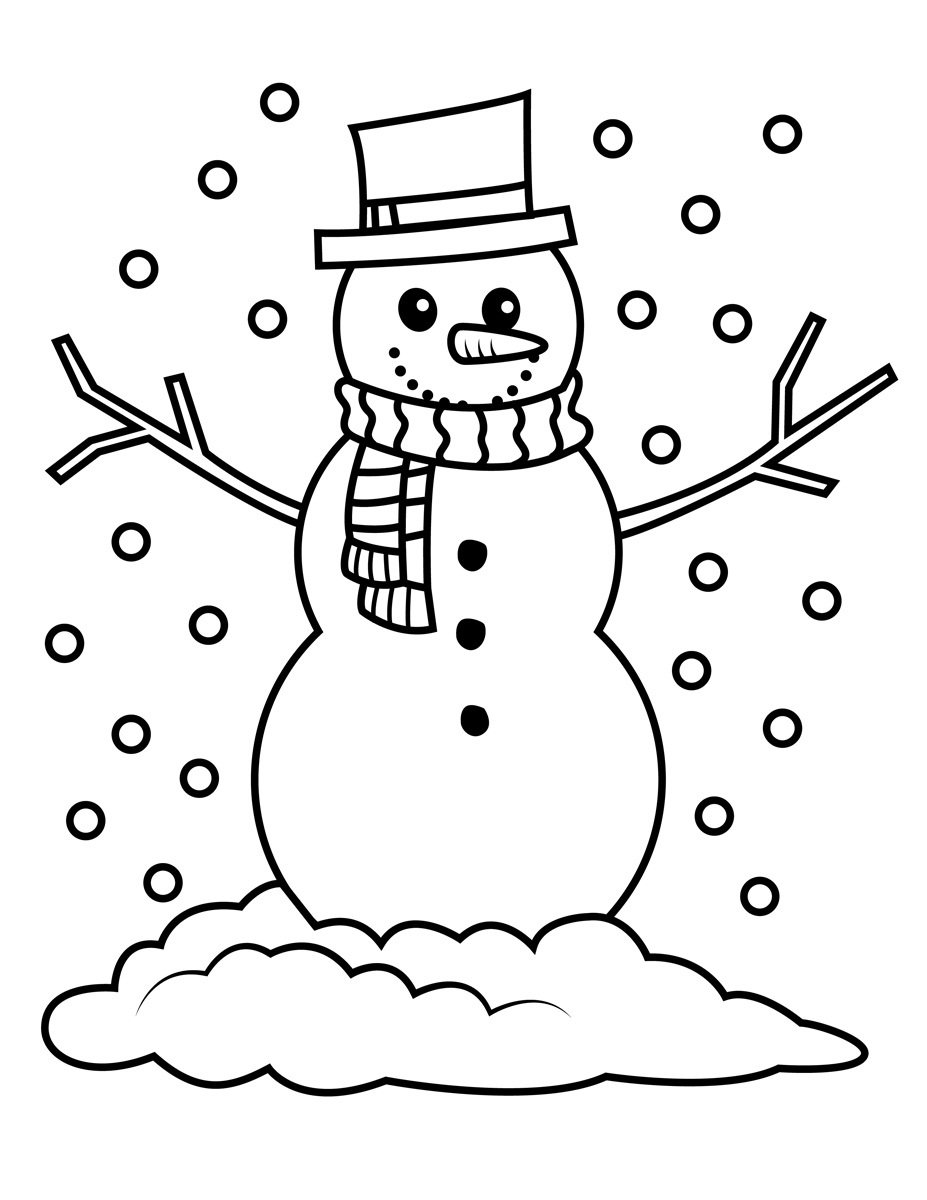 Snowman Coloring Pages Snowfall