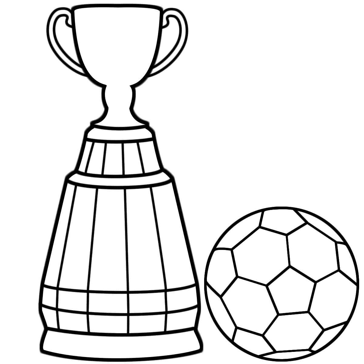 Soccer Coloring Pages Ball And Trophy