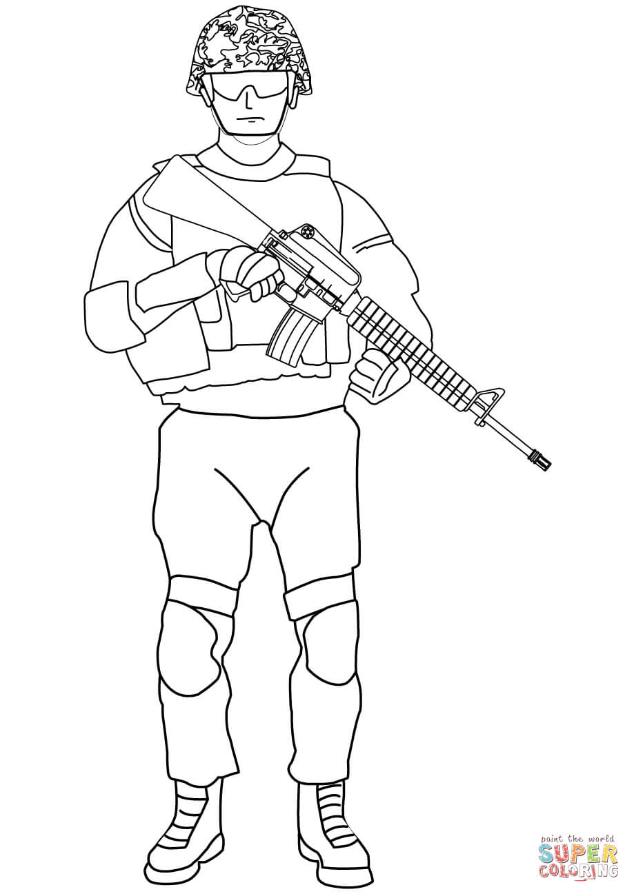 Soldier With M16 Coloring Page