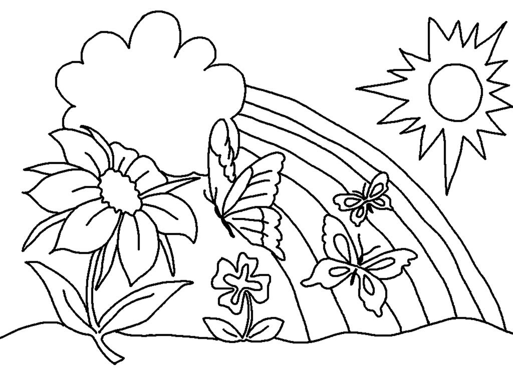 Spring Coloring Pages Butterfly Flower Rainbow