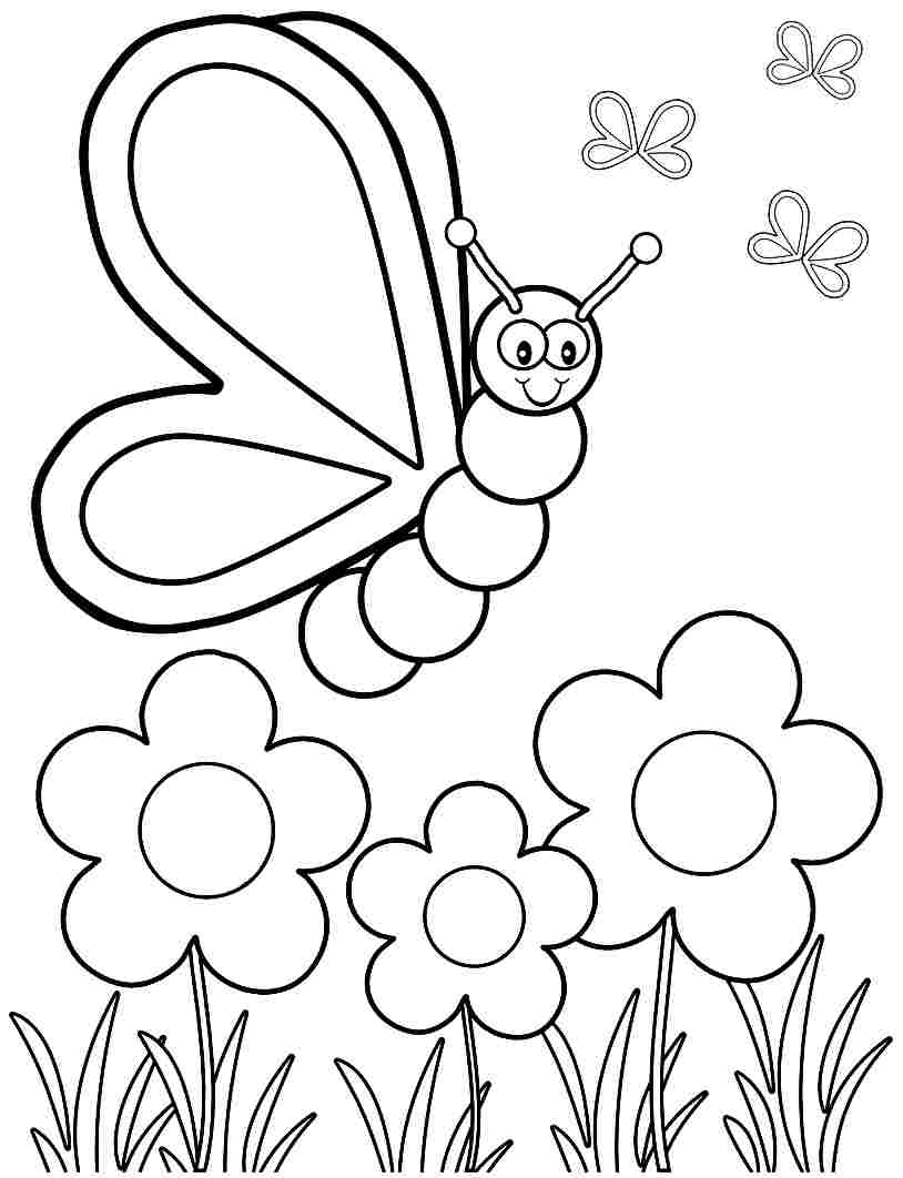 Spring Coloring Pages Butterfly Flowers