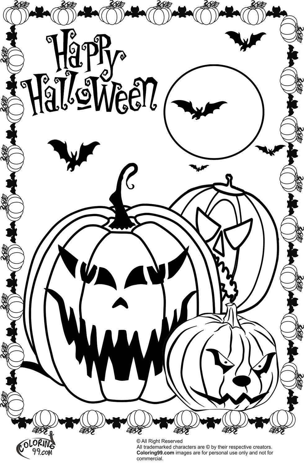 Sumptuous Design Ideas Scary Halloween Coloring Pages Scary