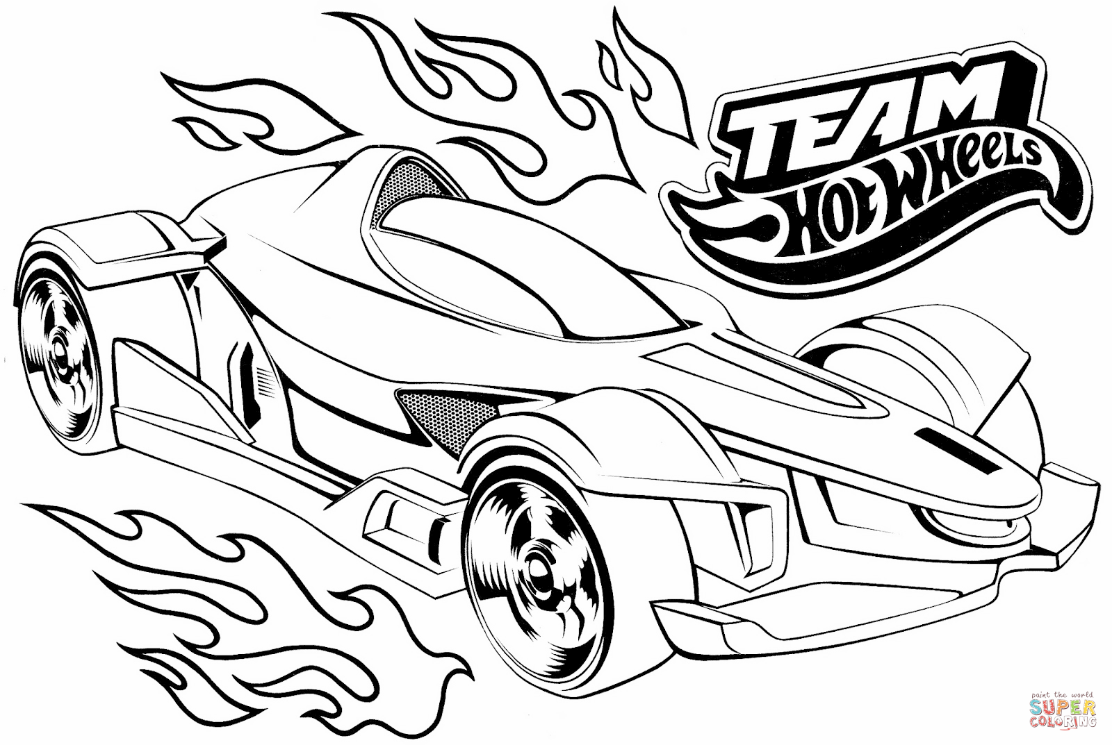 Team Hot Wheels Coloring Page