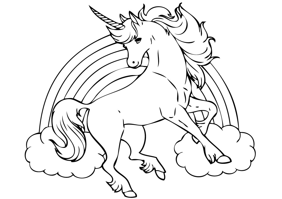 Unicorn Coloring Pages With Rainbow