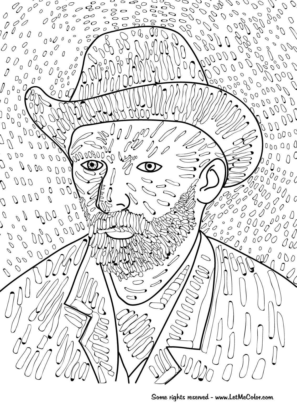 Coloring Page Of Vincent Van Gogh's Self