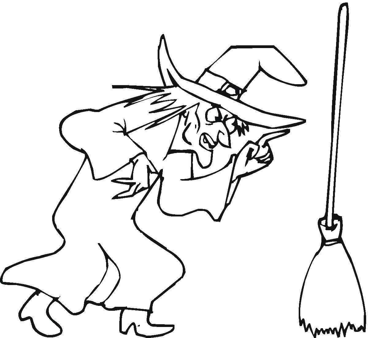 Witch Coloring Pages And The Broomstick