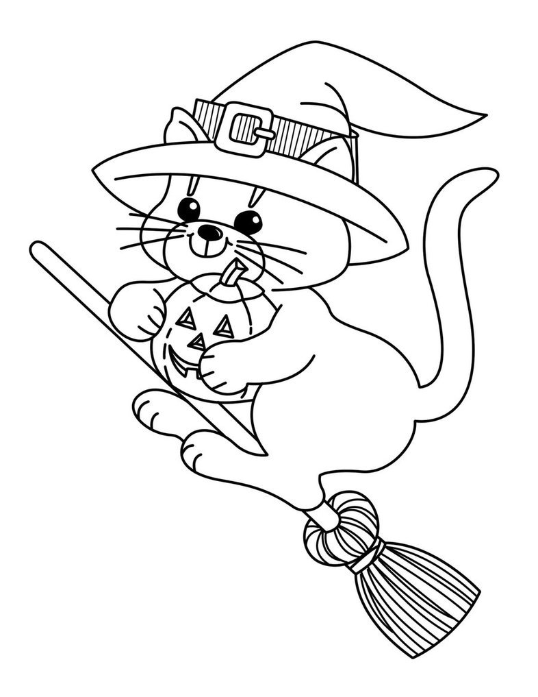 Witch Coloring Pages Hallowen Cat