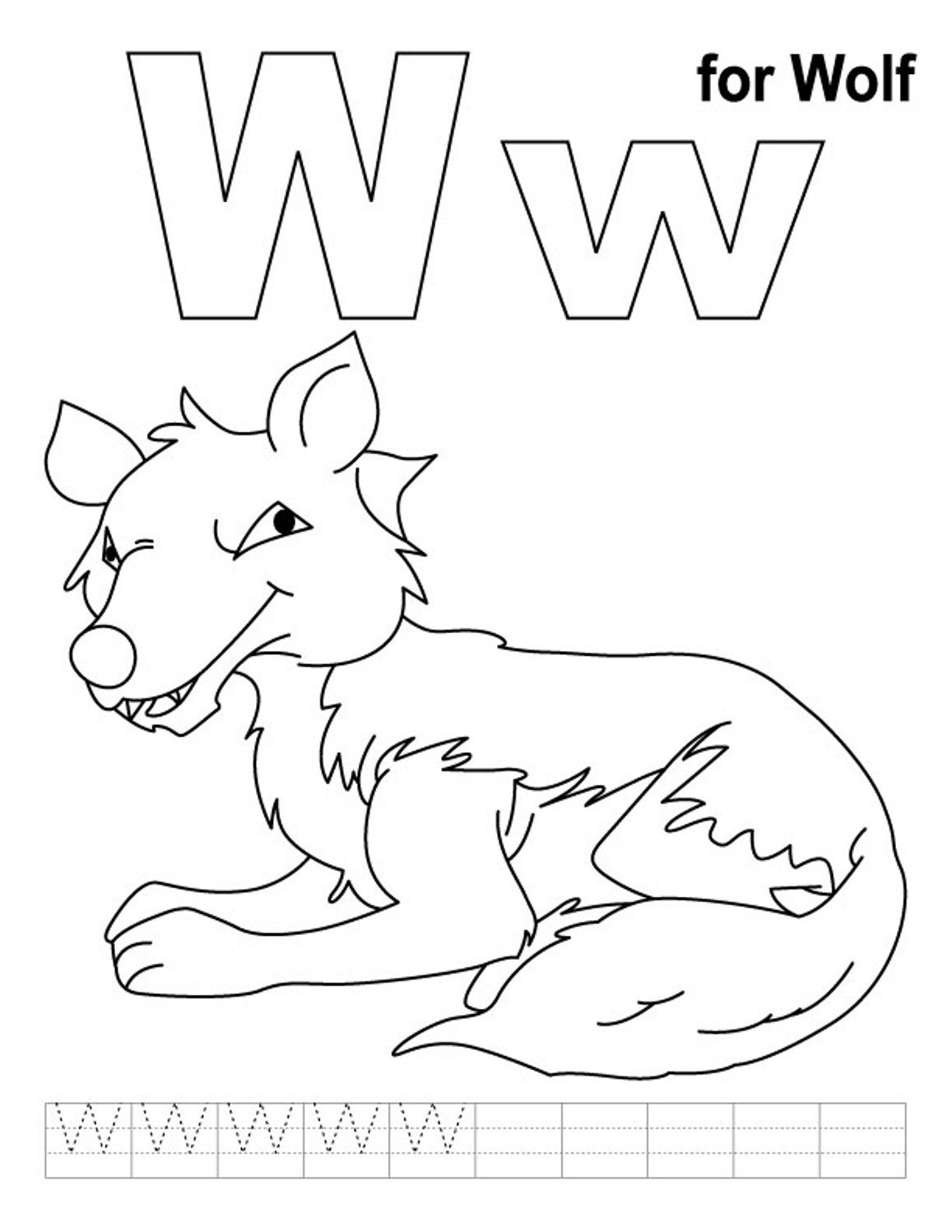 Wolf Free Alphabet Coloring Pages