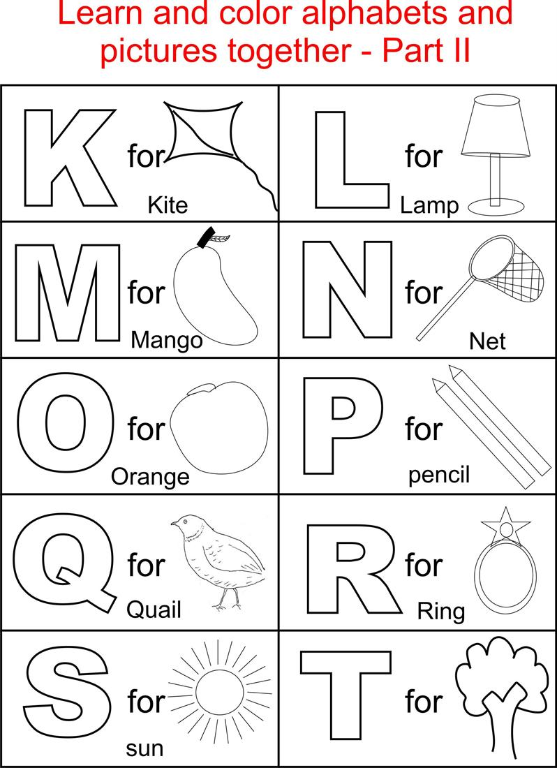 Alphabet Part Ii Coloring Printable Page For Kids  Alphabets