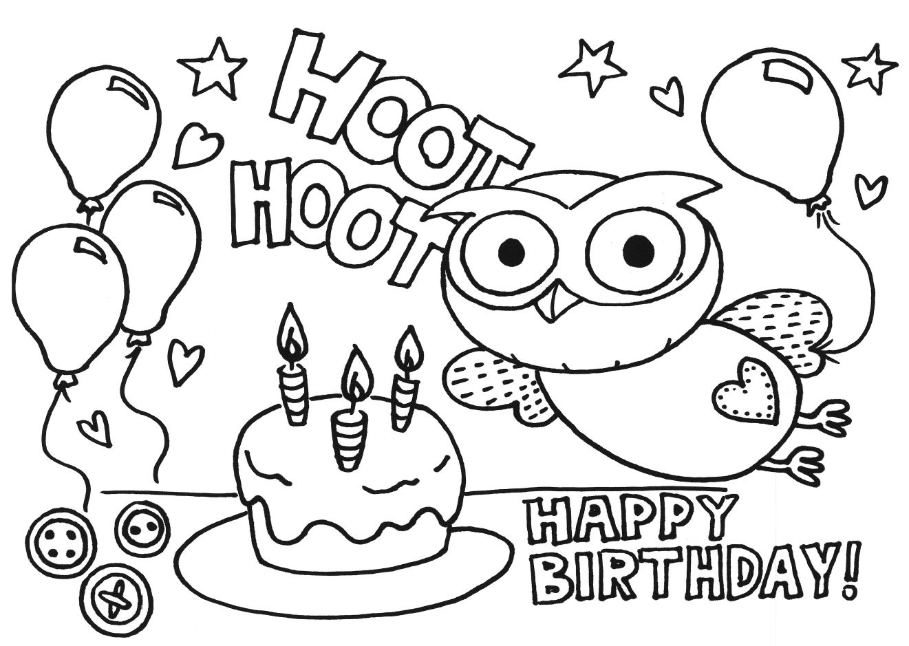 Birthday Card Coloring Page Many Interesting Cliparts