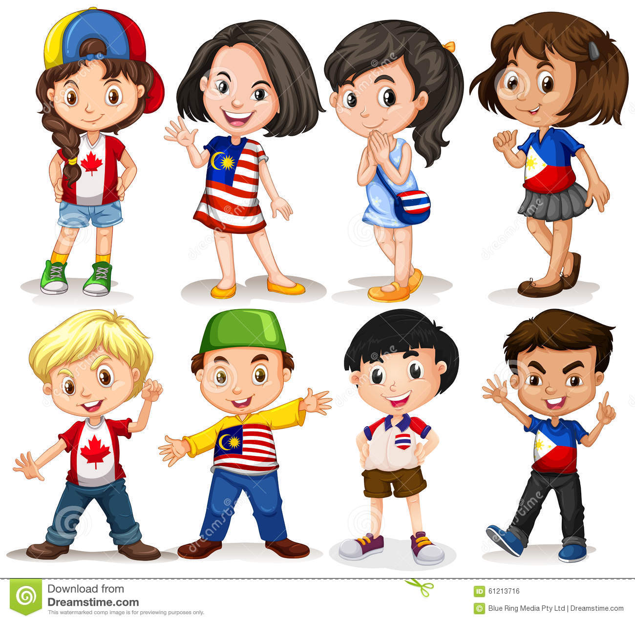 Boys And Girls From Different Countries Stock Vector