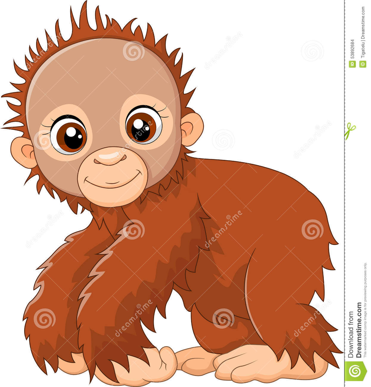 Cartoon Cute A Baby Monkey Stock Vector  Image Of Funny