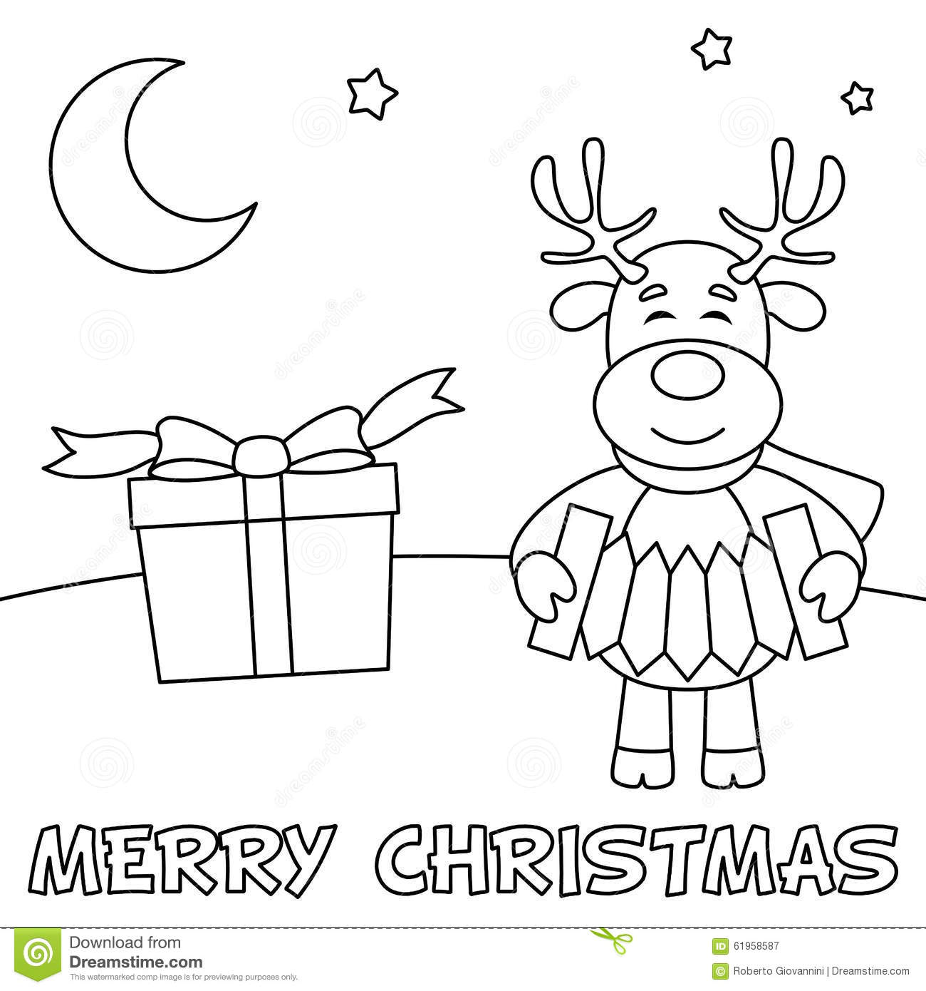 Coloring Christmas Card With Reindeer Stock Vector