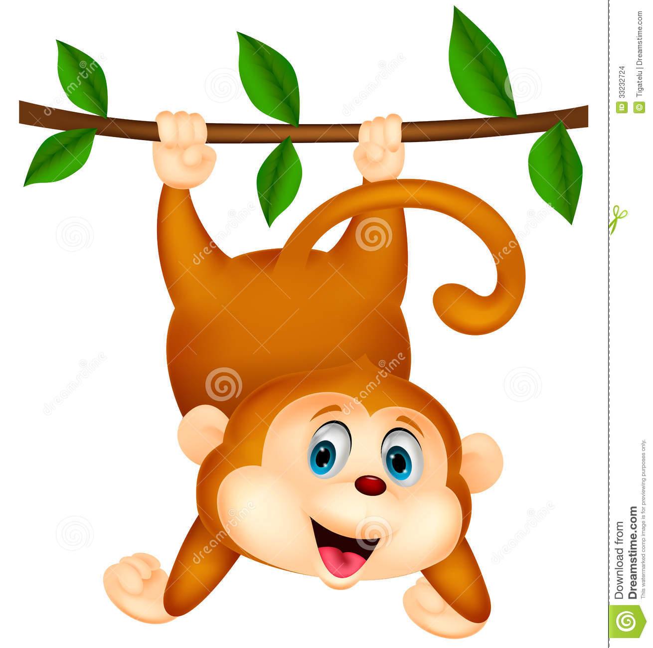Cute Monkey Cartoon Hanging Stock Photos