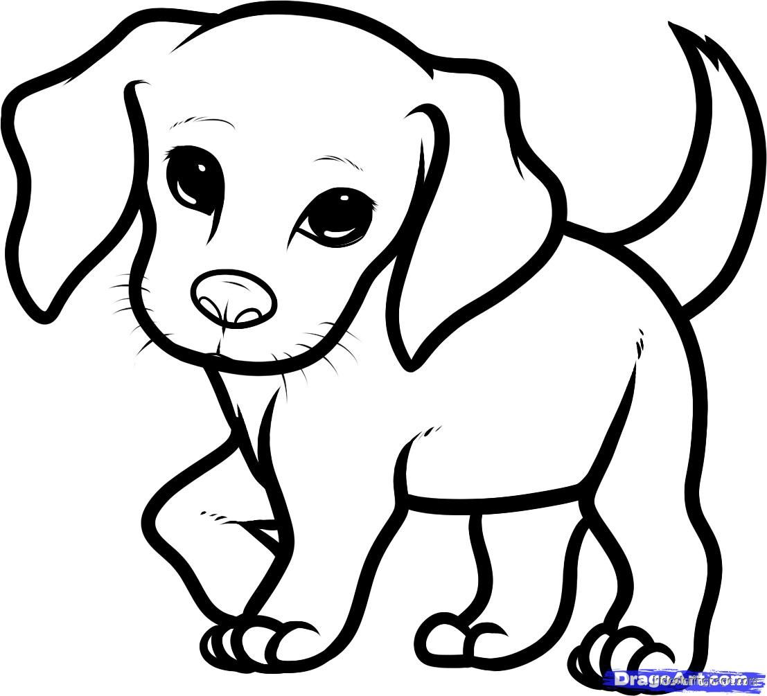 Cute Puppy Colouring Pages To Print And Puppies Coloring