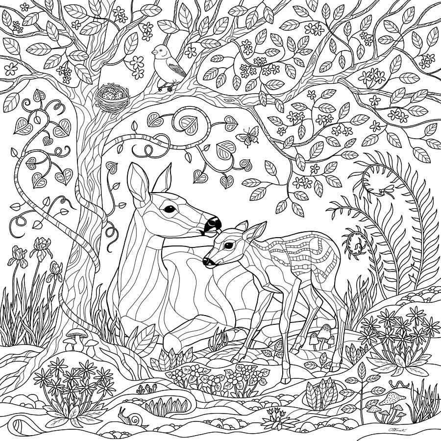 Deer Fantasy Forest Coloring Page Digital Art By Crista Forest