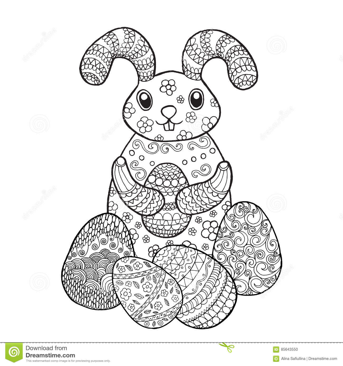 Easter Bunny Rabbit Coloring Page Stock Vector