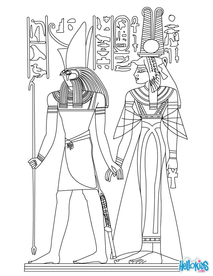 Horus And Nefertiti Deities Coloring Pages