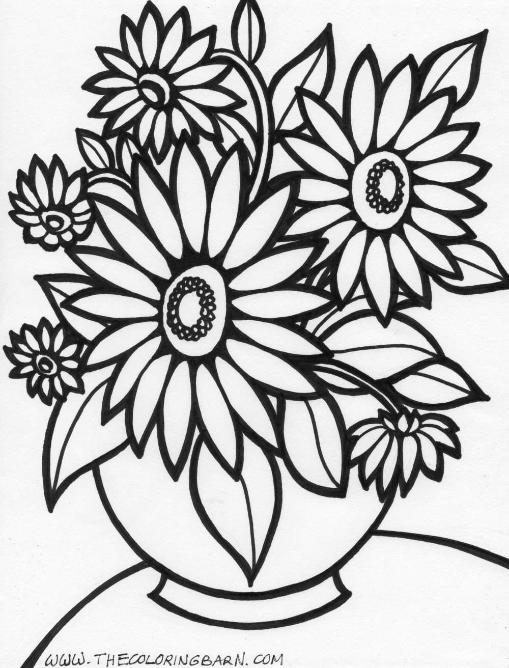Flowers Coloring Pages Free Printable Archives Throughout