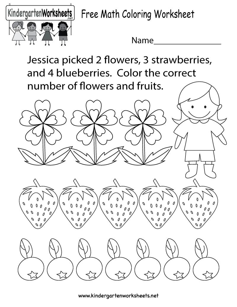Free Printable Math Coloring Worksheet For Kindergarten