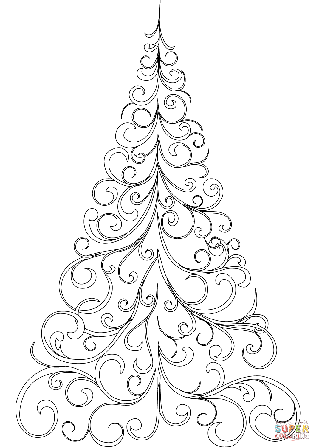 Online Christmas Tree Coloring Pages