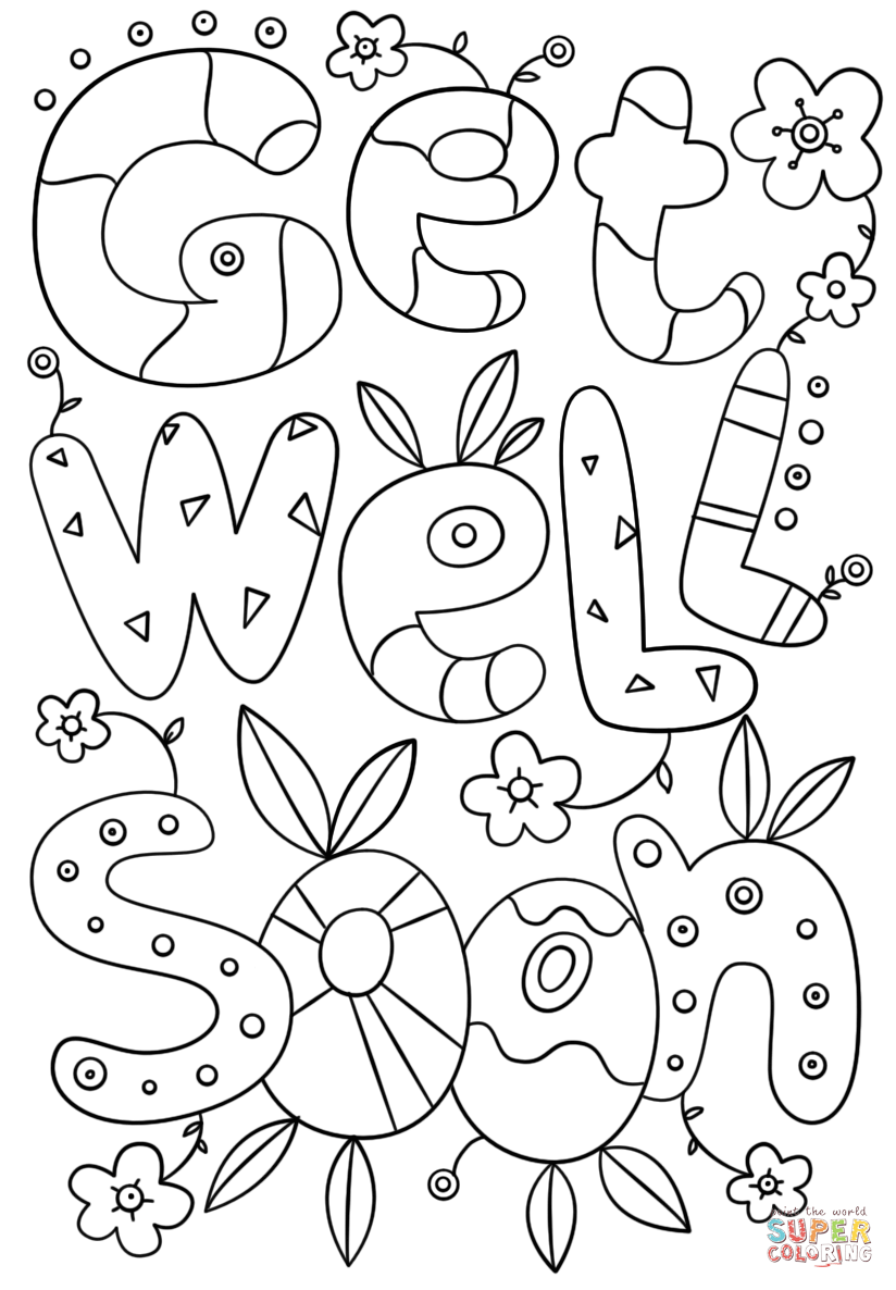 Get Well Soon Doodle Coloring Page