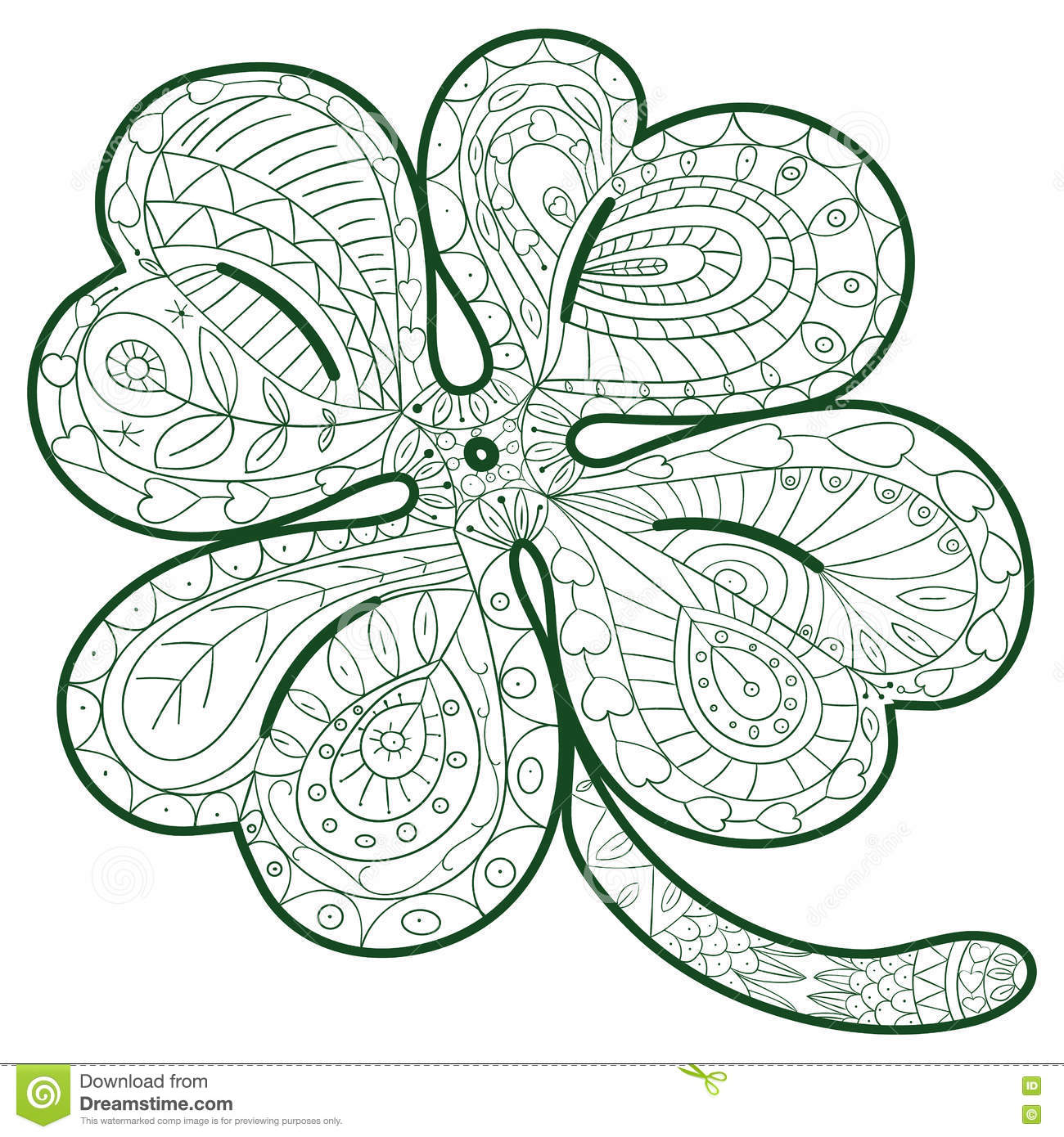 Hand Drawn Four Leaf Clover For Adult Coloring Pages In Doodle