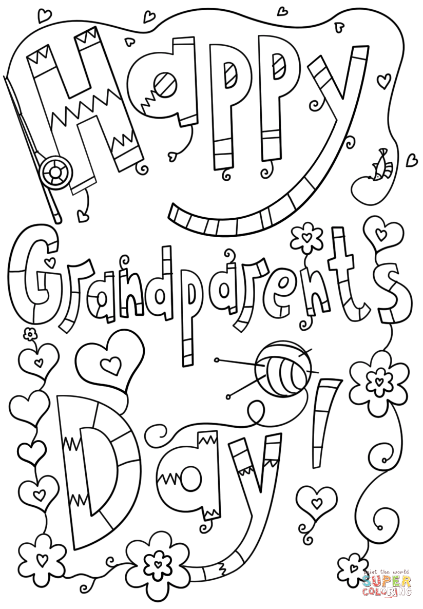 Happy Grandparents Day Doodle Coloring Page