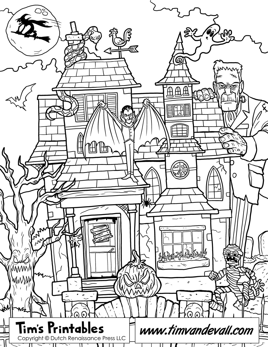 Haunted House Coloring Pages Throughout Page