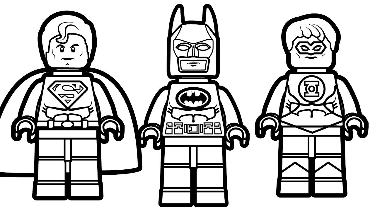 Lego Batman And Superman With Green Lantern Coloring Throughout