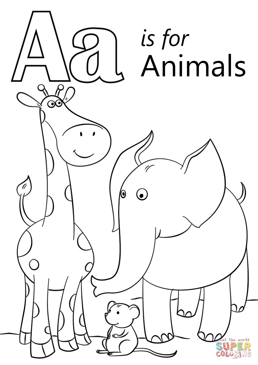 Letter A Is For Animals Coloring Page