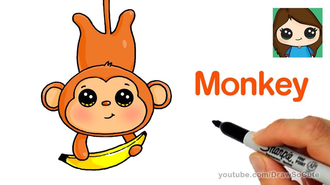 How To Draw A Cartoon Monkey Easy